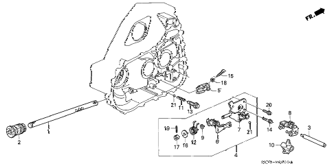 1992 INTEGRA LS 3 DOOR 5MT MT SHIFT ROD diagram