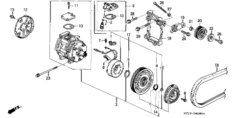 1993 INTEGRA GS-R 3 DOOR 5MT A/C COMPRESSOR (2) diagram