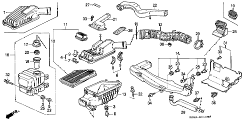 1991 INTEGRA GS 4 DOOR 5MT AIR CLEANER diagram