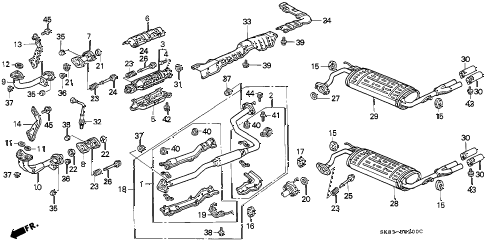 1993 INTEGRA GS 4 DOOR 5MT EXHAUST SYSTEM diagram