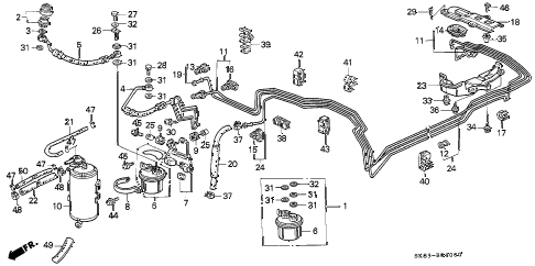 1993 INTEGRA RS 4 DOOR 5MT FUEL PIPE diagram