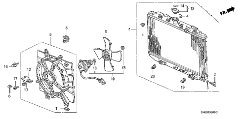 1992 INTEGRA RS 4 DOOR 4AT RADIATOR (SAK) diagram