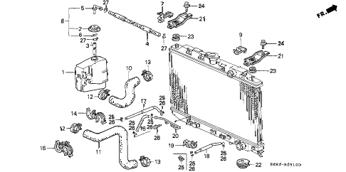 1992 INTEGRA GS 4 DOOR 5MT RADIATOR HOSE diagram