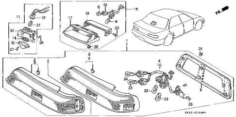 1993 INTEGRA RS 4 DOOR 5MT TAILLIGHT diagram