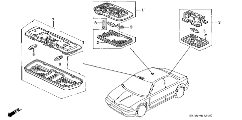 1991 INTEGRA LS 4 DOOR 5MT INTERIOR LIGHT diagram