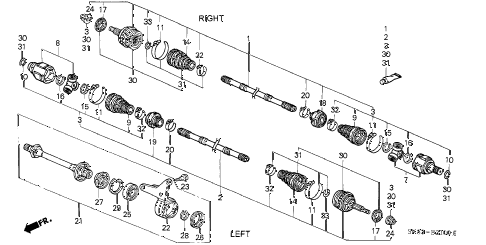 1992 INTEGRA LS 4 DOOR 4AT DRIVESHAFT diagram