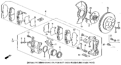 1991 INTEGRA GS 4 DOOR 5MT FRONT BRAKE diagram