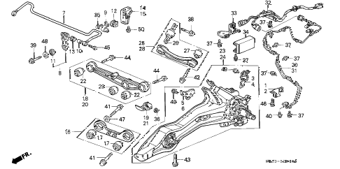 1993 INTEGRA GS 4 DOOR 4AT REAR LOWER ARM diagram