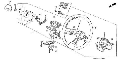 1991 INTEGRA GS 4 DOOR 5MT STEERING WHEEL (1) diagram
