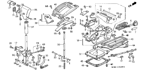 1993 INTEGRA LS 4 DOOR 4AT SELECT LEVER diagram