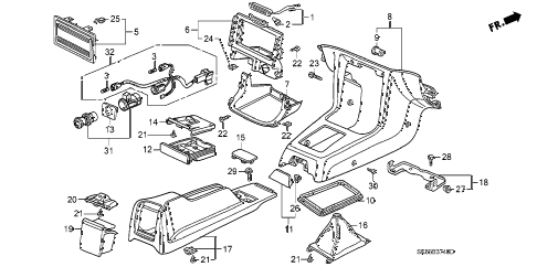 1993 INTEGRA LS 4 DOOR 4AT CONSOLE diagram