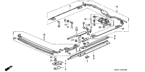 1993 INTEGRA GS 4 DOOR 4AT SUNROOF MOTOR diagram