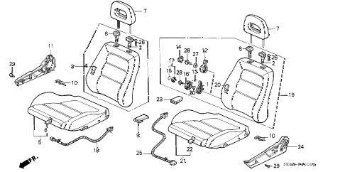 1992 INTEGRA LS 4 DOOR 4AT FRONT SEAT diagram
