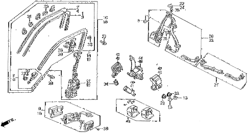 1990 INTEGRA GS 4 DOOR 5MT SEAT BELTS diagram
