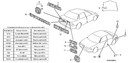 1993 INTEGRA RS 4 DOOR 5MT EMBLEMS diagram