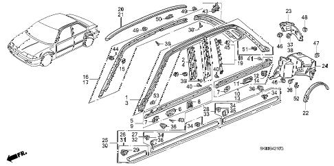 1993 INTEGRA RS 4 DOOR 4AT MOLDING - PROTECTOR diagram