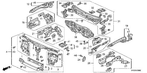 1991 INTEGRA RS 4 DOOR 5MT FRONT BULKHEAD diagram