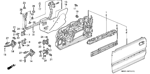 1993 INTEGRA GS 4 DOOR 5MT FRONT DOOR PANELS diagram