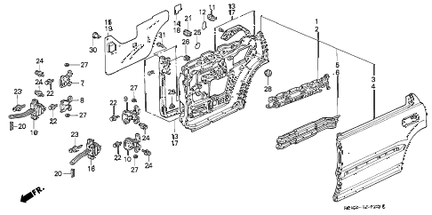 1993 INTEGRA RS 4 DOOR 4AT REAR DOOR PANELS diagram