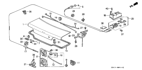 1993 INTEGRA GS 4 DOOR 5MT TRUNK LID diagram