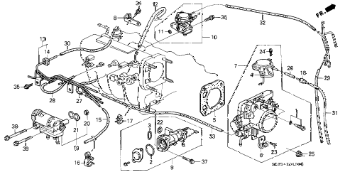 1992 INTEGRA GS 4 DOOR 4AT THROTTLE BODY diagram