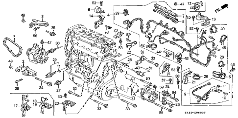 1991 INTEGRA RS 4 DOOR 4AT ENGINE SUB CORD - CLAMP diagram