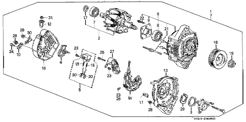 1990 INTEGRA GS 4 DOOR 4AT ALTERNATOR (DENSO) diagram