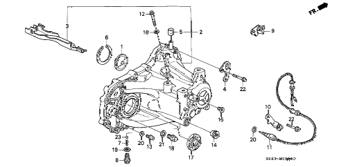 1992 INTEGRA GS 4 DOOR 5MT MT TRANSMISSION HOUSING diagram