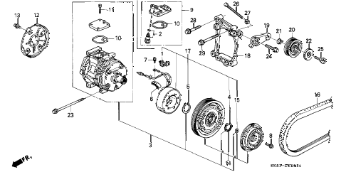 1990 INTEGRA GS 4 DOOR 4AT A/C COMPRESSOR (2) diagram