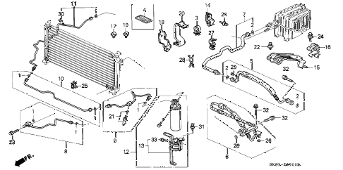 1991 INTEGRA GS 4 DOOR 5MT A/C HOSES - PIPES diagram