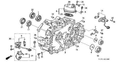 1998 NSX-T 2 DOOR 4AT AT TORQUE CONVERTER HOUSING diagram
