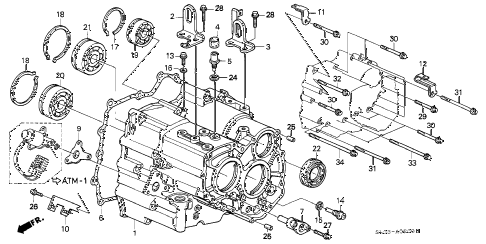1995 NSX 2 DOOR 4AT AT TRANSMISSION HOUSING diagram
