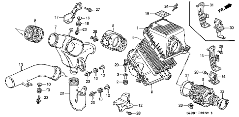 1995 NSX 2 DOOR 4AT AIR CLEANER diagram