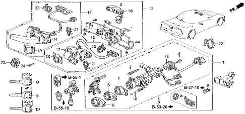 1995 NSX 2 DOOR 5MT COMBINATION SWITCH (1) diagram