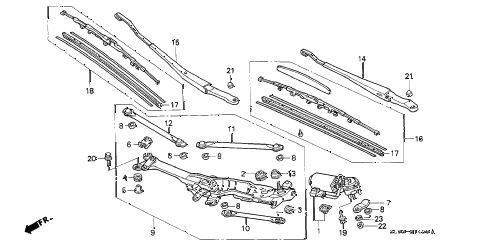 1993 NSX 2 DOOR 5MT FRONT WINDSHIELD WIPER diagram