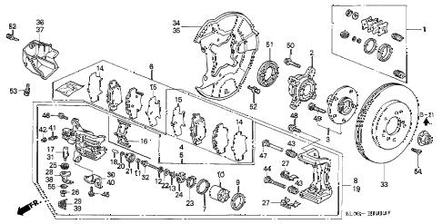 1995 NSX 2 DOOR 5MT REAR BRAKE diagram