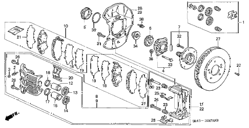 1998 NSX-T 2 DOOR 6MT FRONT BRAKE diagram