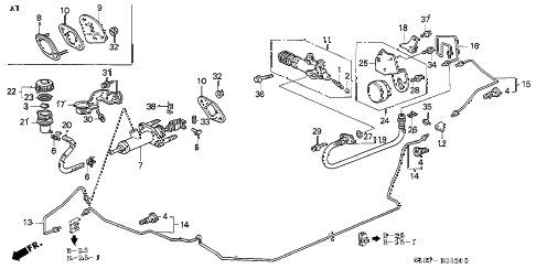 1998 NSX-T 2 DOOR 4AT CLUTCH MASTER CYLINDER diagram