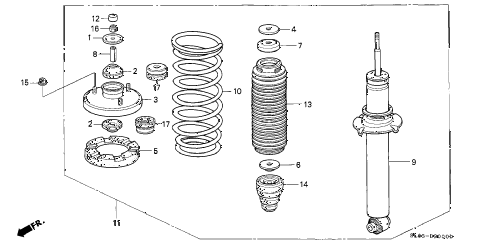 1991 NSX 2 DOOR 5MT REAR SHOCK ABSORBER diagram