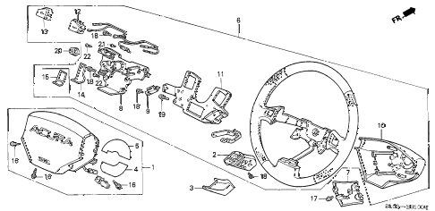 1994 NSX 2 DOOR 4AT STEERING WHEEL diagram