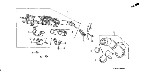 1997 NSX-T 2 DOOR 6MT STEERING COLUMN diagram