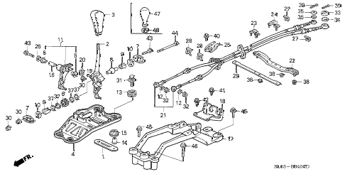 1995 NSX 2 DOOR 5MT SHIFT LEVER diagram