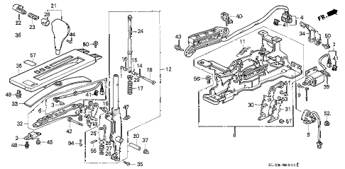 1993 NSX 2 DOOR 4AT SELECT LEVER diagram