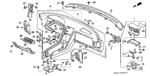 1996 NSX-T 2 DOOR 5MT INSTRUMENT PANEL diagram