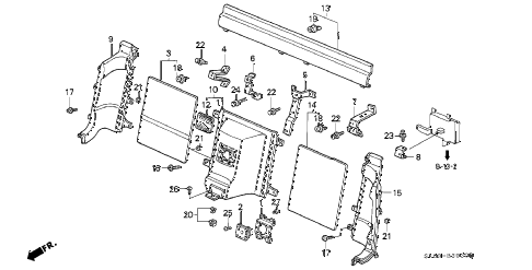 1993 NSX 2 DOOR 5MT REAR BULKHEAD LINING diagram