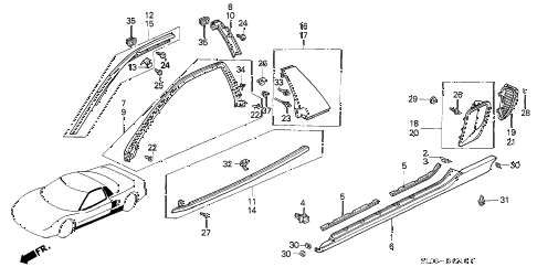 1991 NSX 2 DOOR 5MT MOLDING (1) diagram