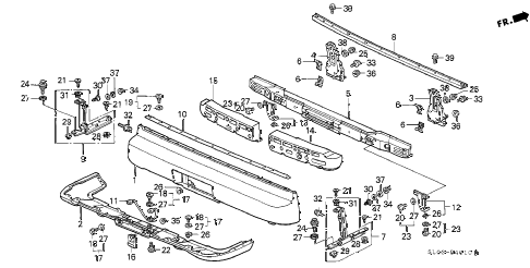 2000 NSX-T 2 DOOR 6MT REAR BUMPER diagram