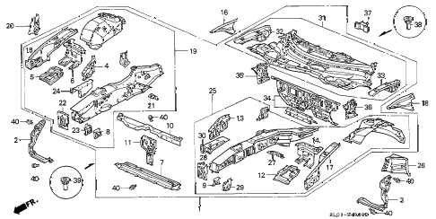1997 NSX 2 DOOR 4AT FRONT BULKHEAD diagram