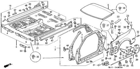 2000 NSX 2 DOOR 6MT OUTER PANEL - REAR FENDER (1) diagram