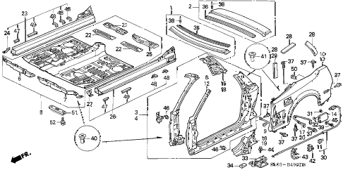 1995 NSX-T 2 DOOR 4AT OUTER PANEL - REAR FENDER (2) diagram